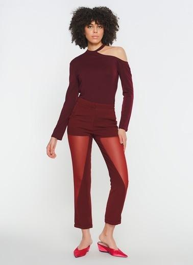 Zeynep Ökmen Tül Detaylı Krep Pantalon Bordo